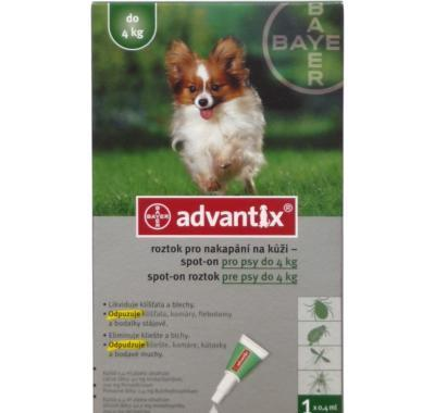 Advantix pro psy spot-on do 4 kg 1 x 0.4 ml