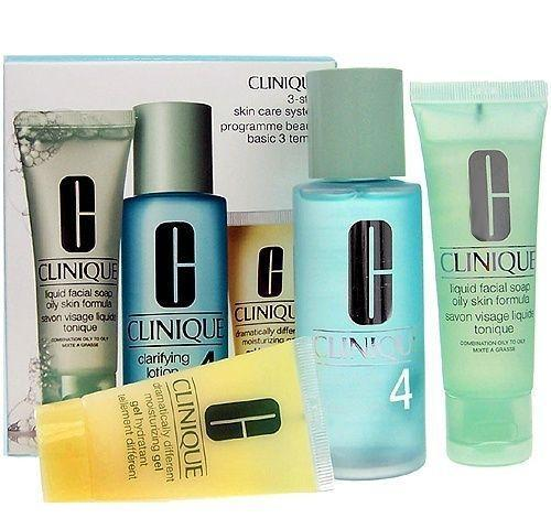 Clinique 3step Skin Care System4  50 ml Liquid Facial Soap   100 ml Clarifying   30 ml Dramatically